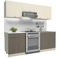 Кухонный гарнитур 2 метра из 5 модулей дуб молочный (кухонный комплект мебели)
