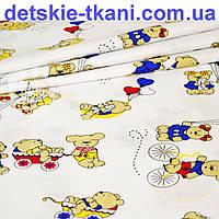Ткань хлопковая Мишки с колясками в красных и синих платьях на белом фоне (№ 814)