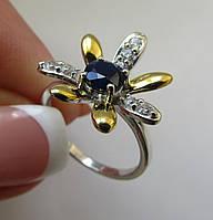 Двухцветное кольцо с сапфиром (5.0 мм). Серебро, позолота