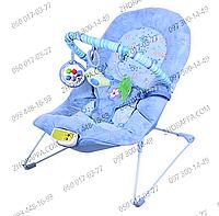 Детский шезлонг 30606, голубой, музыка, вибрация, на батарейках, 3 подвески на мягкой дуге, в коробке