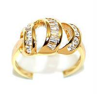 Кольцо с белыми фианитами, цвет-позолота.Есть 17 р. 18 р.