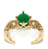 Кольцо  с белыми и зелёными фианитами, цвет-позолота.Есть 17 р. 18 р. 19 р.