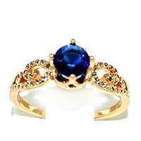 Кольцо  с белыми и синим фианитами, цвет-позолота. Есть 17 р.  19 р.