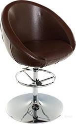 Барный стул коричневый ( кож. зам + металлическая ножка)