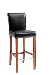 Барный стул черный  ( кож. зам + деревянная ножка)