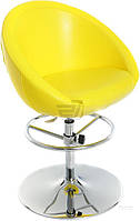 Барный стул желтый ( кож. зам + металлическая ножка)