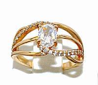 Кольцо  с белыми фианитами, цвет-позолота. Есть только 16 р.