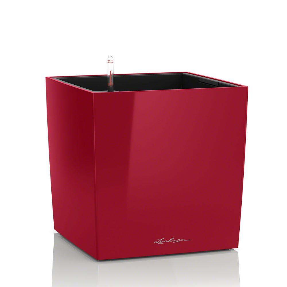 Вазон с кашпо и гидросистемой Cube Premium 40 красный глянец