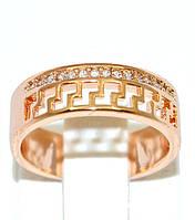 Кольцо с белыми фианитами, цвет-позолота с красным оттенком. Есть размеры.