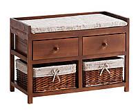 Банкетка в прихожую коричневая с подукшой и ящиками