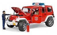 Джип пожарный Bruder Wrangler Unlimited Rubicon с фигуркой пожарника 1:16 (02528), фото 1