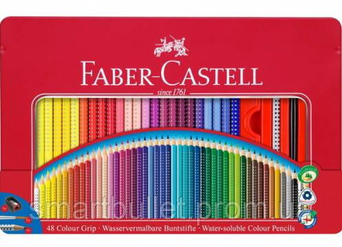 Цветные карандаши Faber-Castell акварельные 48 цветов+аксессуары GRIP 2001 трехгранные в метал. коробке 112448