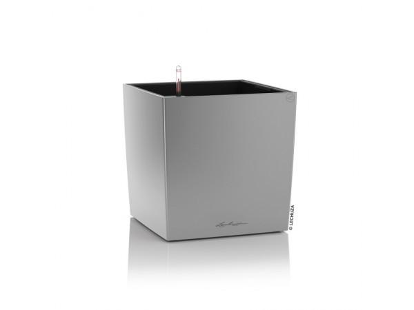 Вазон с кашпо и гидросистемой Cube Premium 40 серебристый