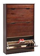 Шкаф тумба для обуви темный, масив сосны, 80х27х128см