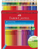 Цветные карандаши Faber-Castell акварельные 48 цветов GRIP 2001 трехгранные в картон. упаковке 112449