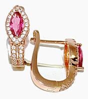 Серьги ХР позолота с красным оттенком. Камень:розовый циркон и белые фианиты,высота серьги 2см. ширина 7 мм.
