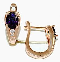 Серьги ХР позолота с красным оттенком.Камень:фиолетовый циркон и фианиты,высота серьги 1,7см. ширина 6 мм.