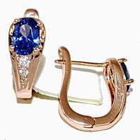 Серьги ХР позолота с красным оттенком.Камень:синий циркон и фианиты,высота серьги 1,7см. ширина 6 мм.