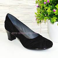 """Туфли черные женские замшевые на каблуке с плетением. ТМ """"Maestro"""""""