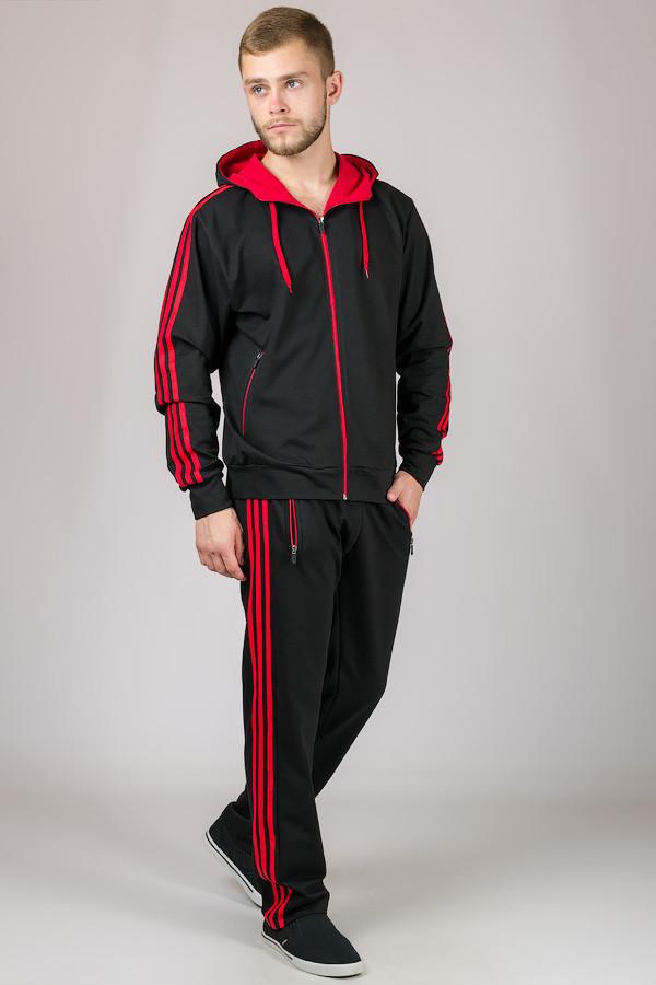 Спортивный костюм мужской трикотажный с капюшоном черный красный Турция