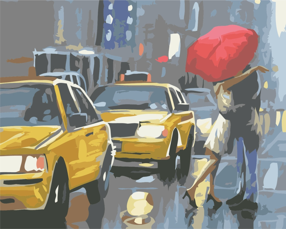 Картина раскраска Идейка Встреча возле такси (KHO2141) 40 х 50 см (без коробки)