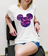 """Женская футболка """"Микки с цветочным фоном"""""""