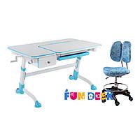 Растущая парта-трансформер FunDesk Amare Blue с выдвижным  ящиком + Детское кресло SST6 Blue