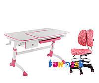 Растущая парта-трансформер FunDesk Amare Pink с выдвижным  ящиком + Детское кресло SST6 Pink