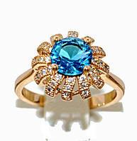 Кольцо  с белыми фианитами и топазом, цвет-позолота. Есть 16 р. 17 р. 20 р.