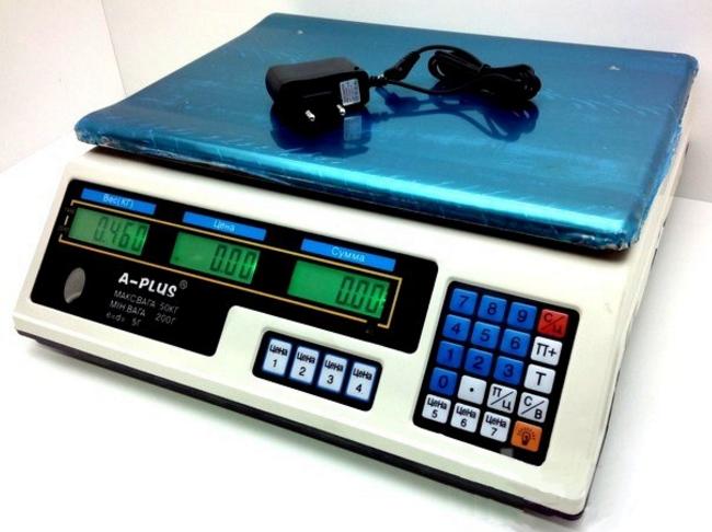 Електронні торгові ваги до 50 кг А-Плюс (ваги електронні торгові A-Plus)