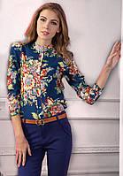 Блузка женская / рубашка с цветочным принтом синяя 44