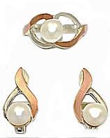 Серебряные женские наборы с жемчугом. Серьги +кольцо . Размеры уточняйте.