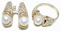 Серебряные женские наборы с жемчугом. Серьги +кольцо. Размеры уточняйте.
