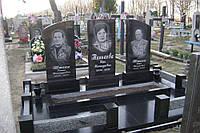 Памятник тройной из гранита габбро