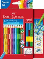 Цветные карандаши Faber-Castell 12 цветов акварельных карандашей GRIP + 2 CONNECTOR фломастера 201396