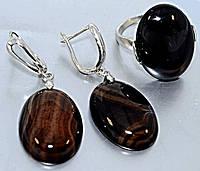Набор: серьги с кольцом. Покрытие родием. Камень: агат. Высота серьги 4,5 см. Диаметр камня 19 мм. 20 размер.