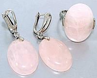 Набор: серьги с кольцом. Покрытие родием. Камень: розовый кварц. Высота серьги 4,5 см. Диаметр камня 19 мм.  18