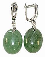 Серьги покрытые родием. Камень :нифрит. Высота серьги: 4 см. Диаметр камня: 15 мм.