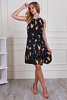 Элегантное женское платье из шелка черного цвета с оригинальным принтом