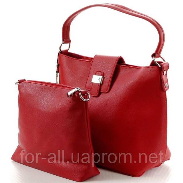 Модная женская сумка красная в классическом стиле+сумка в подарок