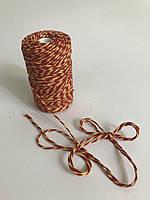 Цветной шпагат 100м, декоративная нить для упаковки, красно желтая