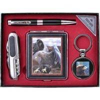 Подарочный набор портсигар/брелок/ручка/нож (YJ6273)