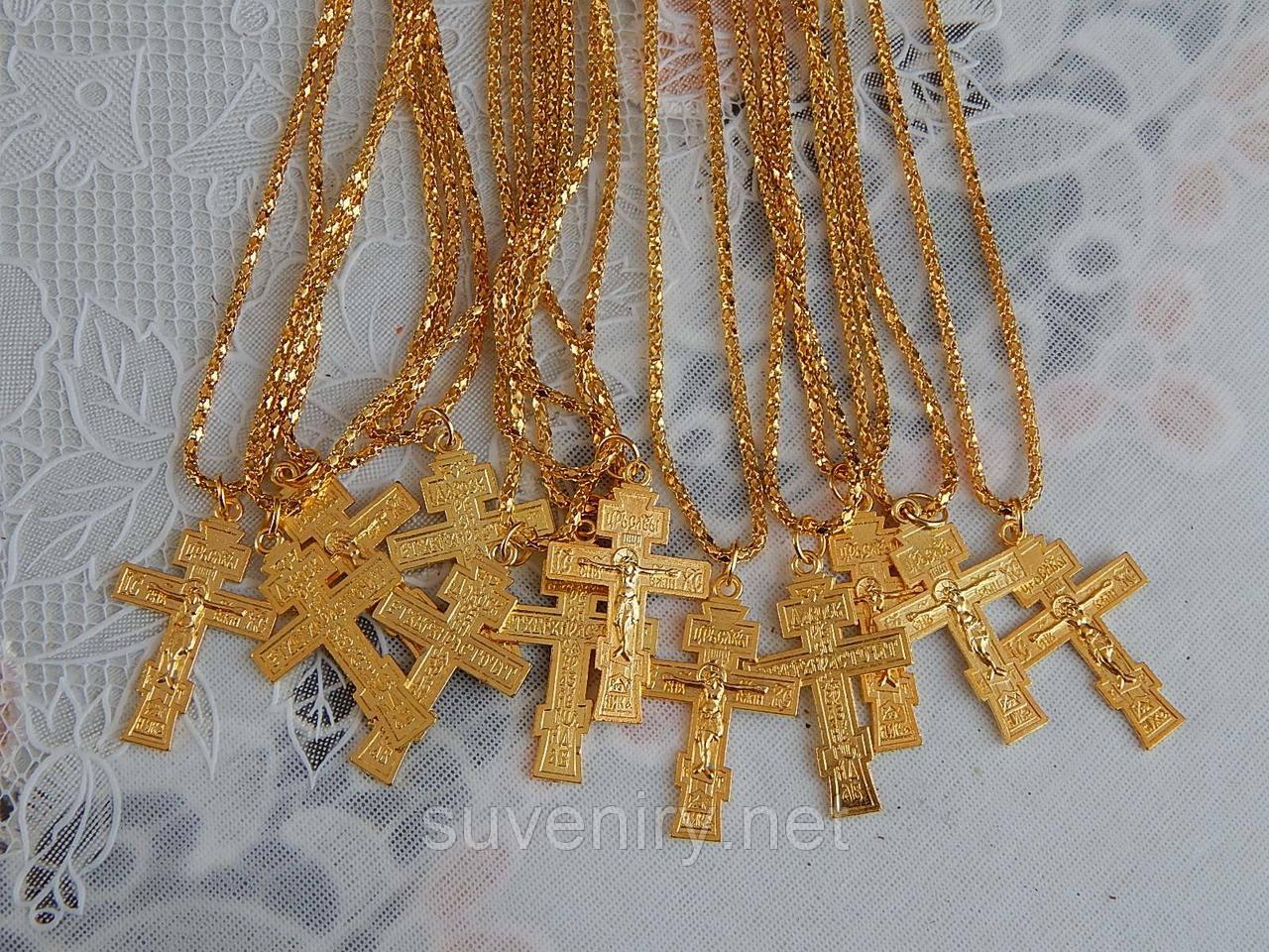 Цепочка с крестом на шею под золото