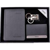 Подарочный набор блокнот/ключница/визитница (кожа) (3040)