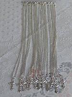 Цепочка с крестом на шею цвет серебра