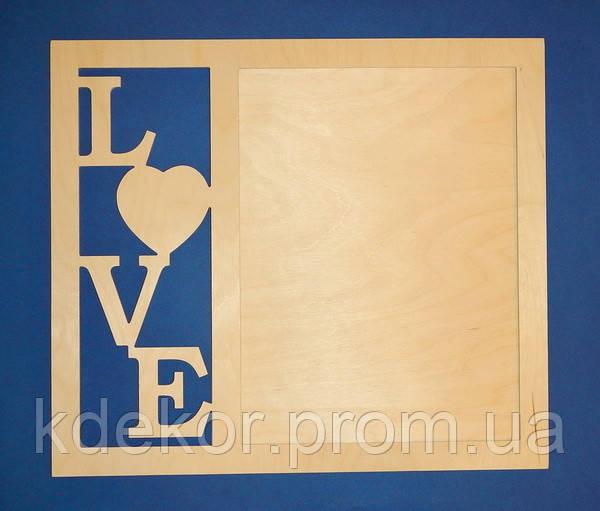 Рамка LOVE для фотографий заготовка для декупажа и декора