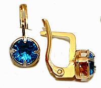 Серьги Хuping позолота+родий .Камень: голубой циркон. Высота серьги 2 см. ширина 7 мм.