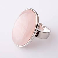 """Кольцо Розовый квац  гладкая оправа  """"С"""" овальный  камень 2,6*2,0см без р-р"""
