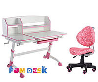 Подростковая парта для школы FunDesk Amare II Pink + Детский стул SST5 Pink