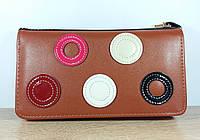 Женский мини клатч -  кошелек Колечко коричневого цвета